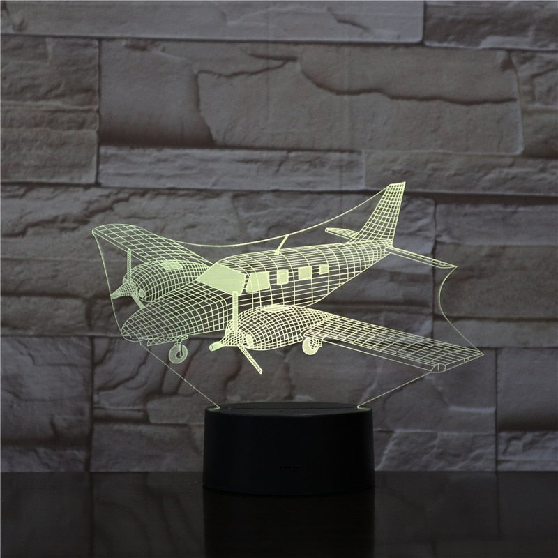 Plane 3D LED Illusion Night Light Lamp