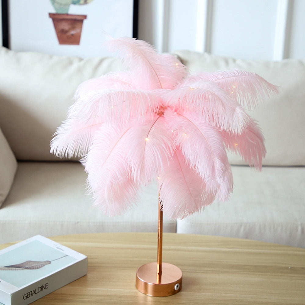 Pretty Feather USB Night Light Table Lamp