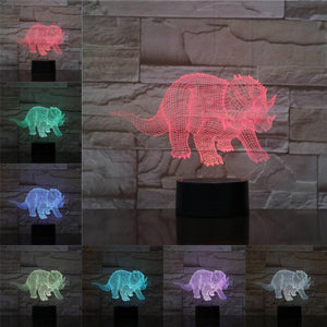 Happy Triceratops Dinosaur 3D LED Illusion Night Light Lamp