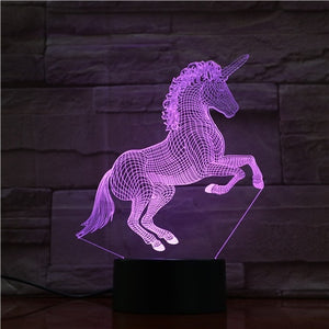 Unicorn Horse 3D LED Illusion Night Light Lamp