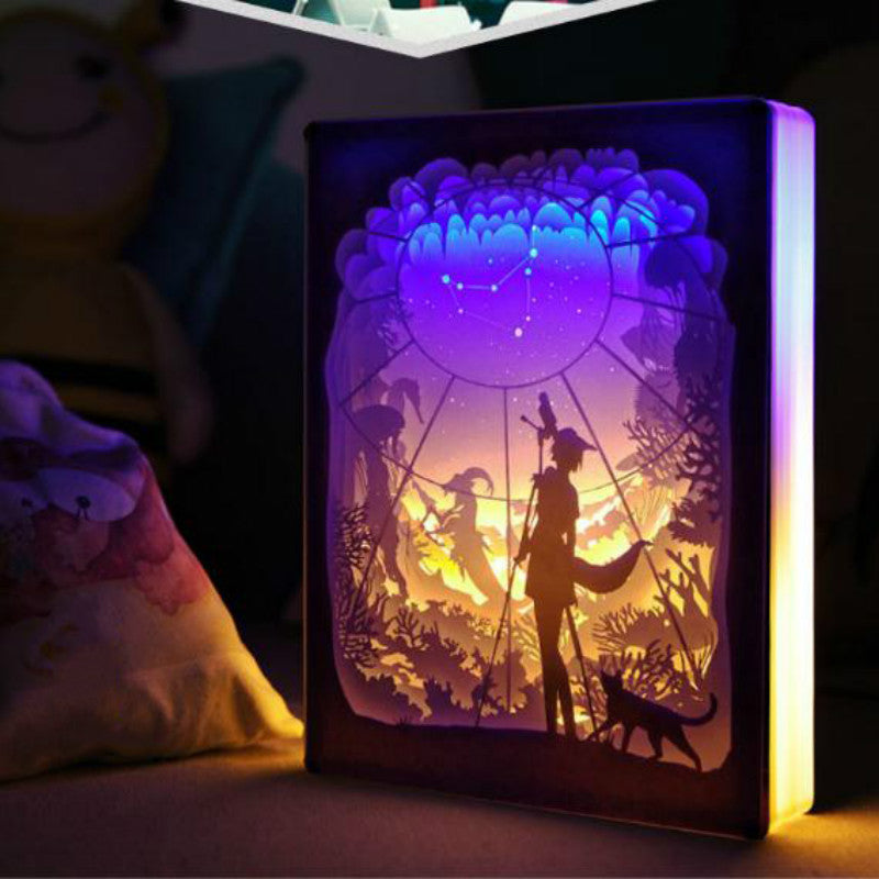 Capricorn Constellation Colorful 3D Paper Carving Night Light Lamp