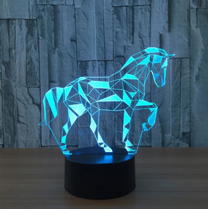 Abstract Horse 3D LED Illusion Night Light Lamp