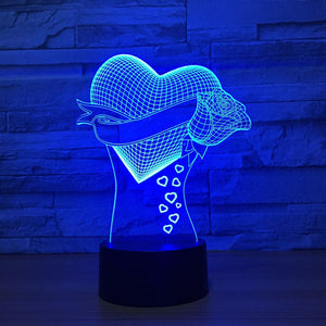 Heart Rose 3D LED Illusion Night Light Lamp