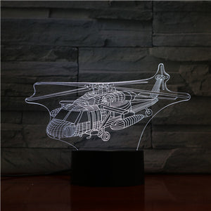 War Helicopter 3D Led Illusion Night Light Lamp