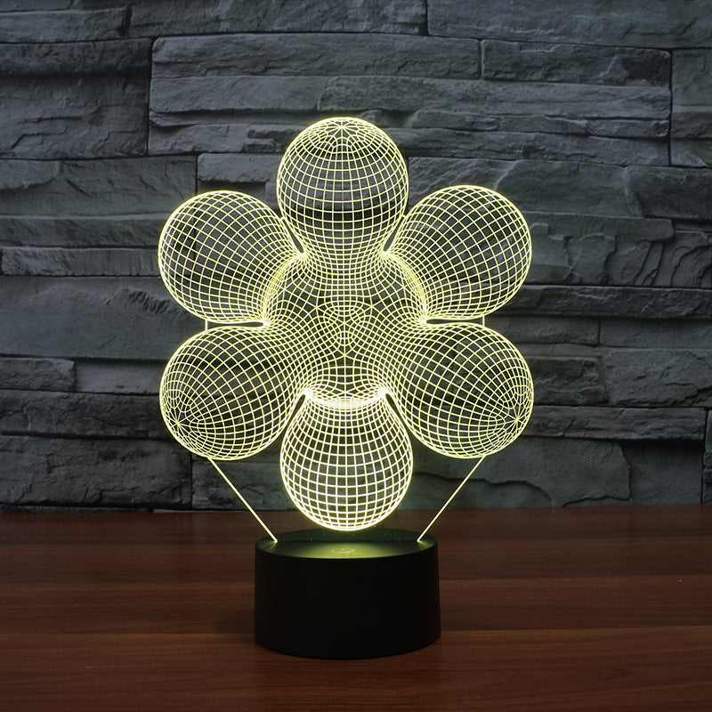 Abstract Flower 3D LED Illusion Night Light Lamp
