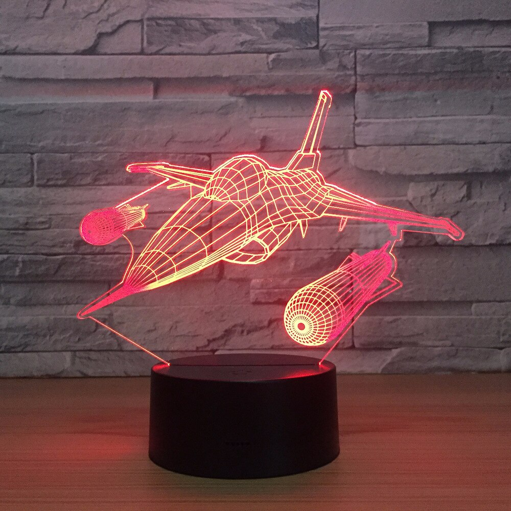Missile Warplane 3D Illusion LED Night Light Lamp