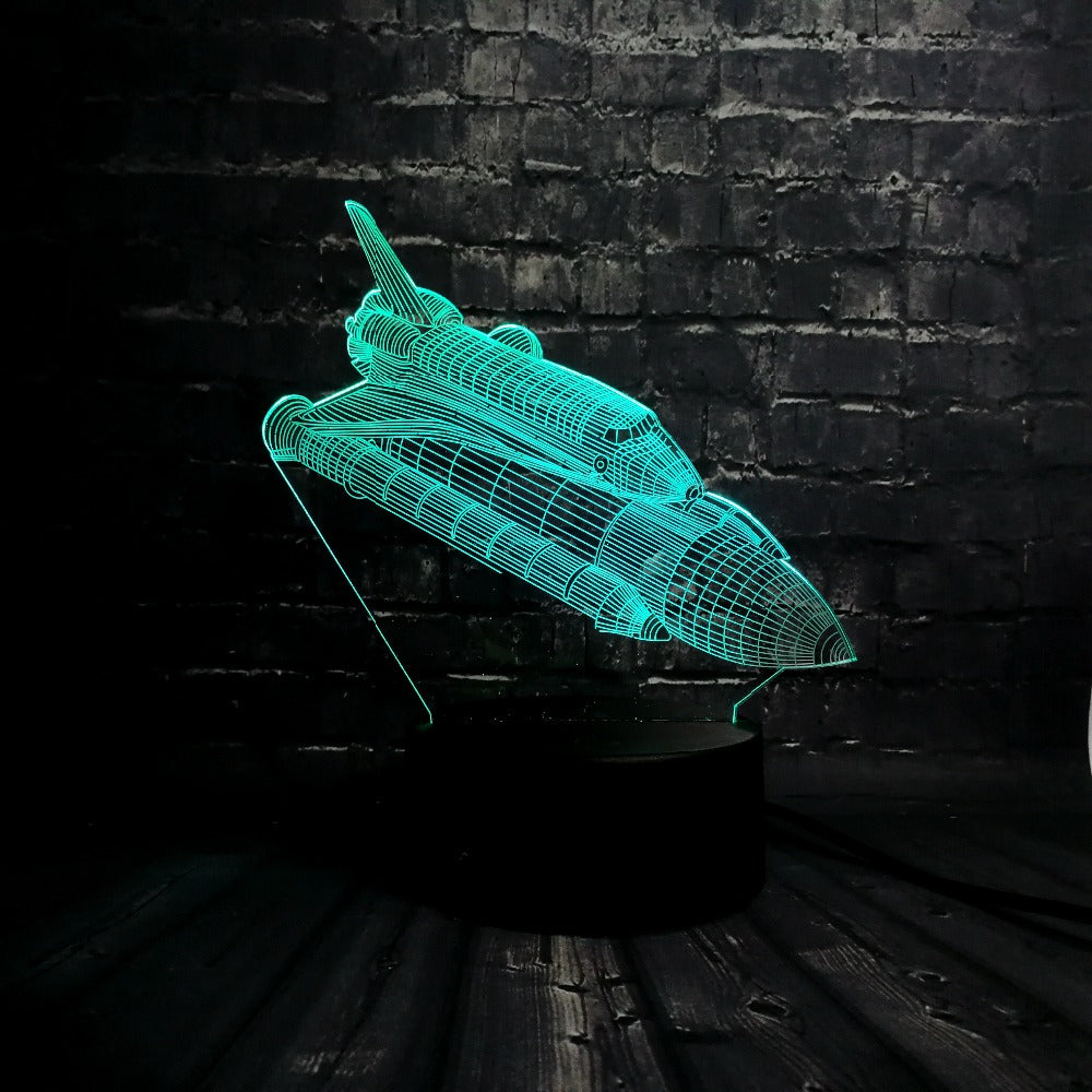 Rocket Plane 3D LED Illusion Night Light Lamp