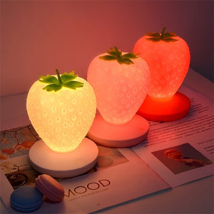 Strawberry Silicone USB Rechargable Night Light Lamp