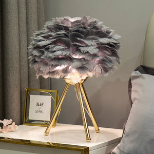 Aesthetic Romantic Goose Feather Night Light Table Lamp