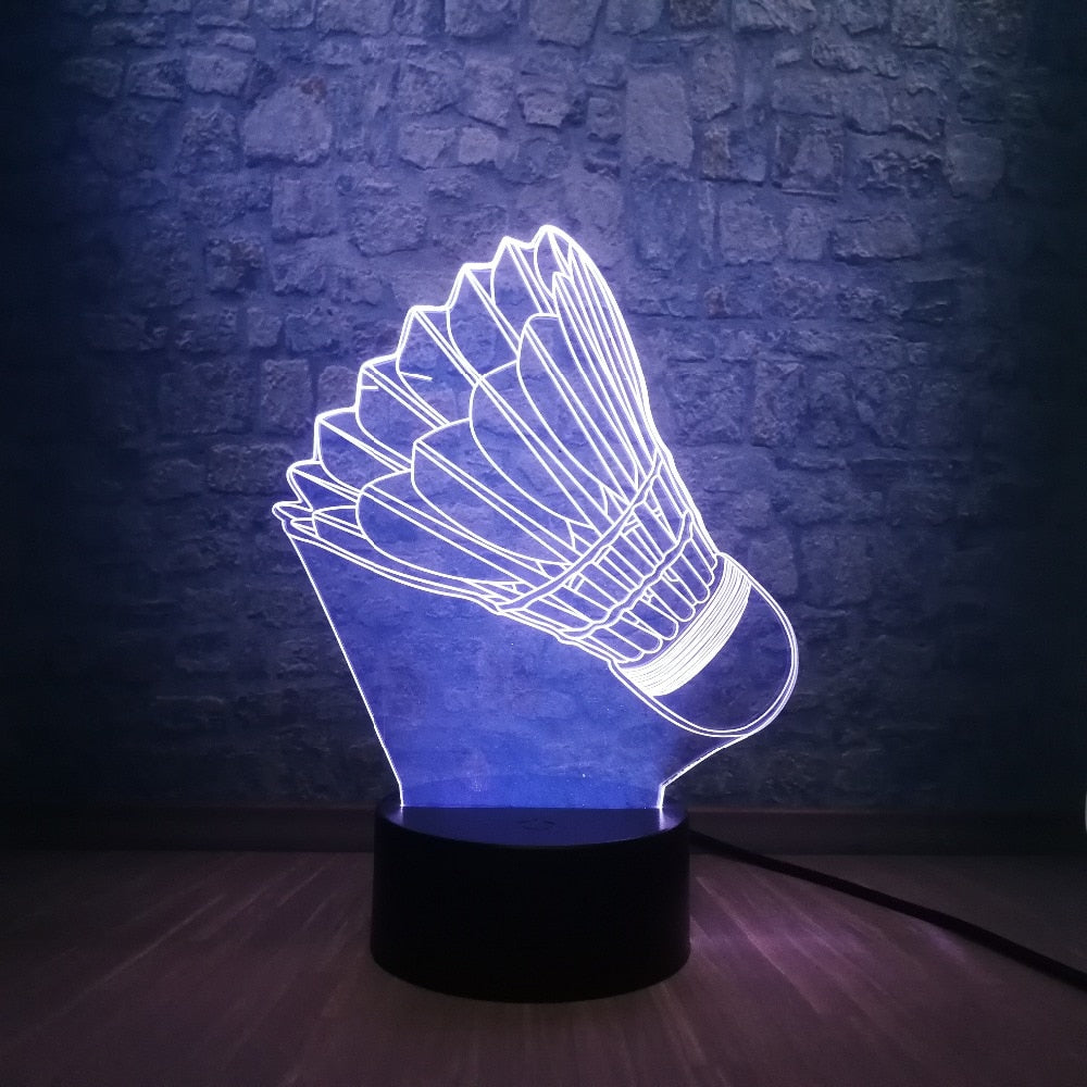 Badminton Birdie 3D LED Illusion Night Light Lamp