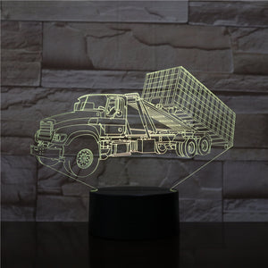 Large Truck 3D LED Illusion Night Light Lamp