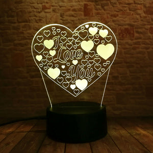 I Love You Heart 3D LED Illusion Night Light Lamp
