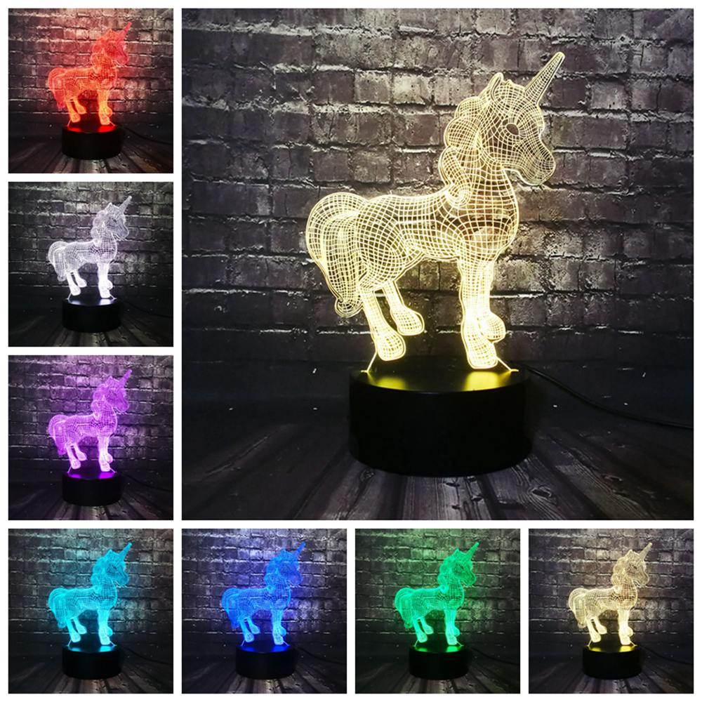 Pretty Unicorn 3D LED Illusion Night Light Lamp