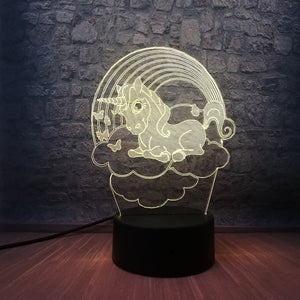 Baby Unicorn 3D LED Illusion Night Light Lamp