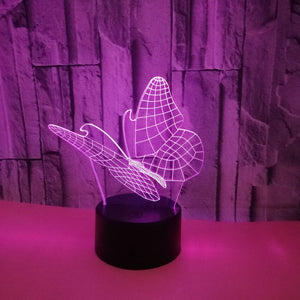 Abstract Butterfly 3D LED Illusion Night Light Lamp