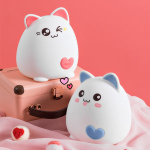 Kawaii Cat USB Silicone USB Rechargable Night Light Lamp