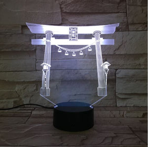Japanese Shrine 3D LED Illusion Night Light Lamp