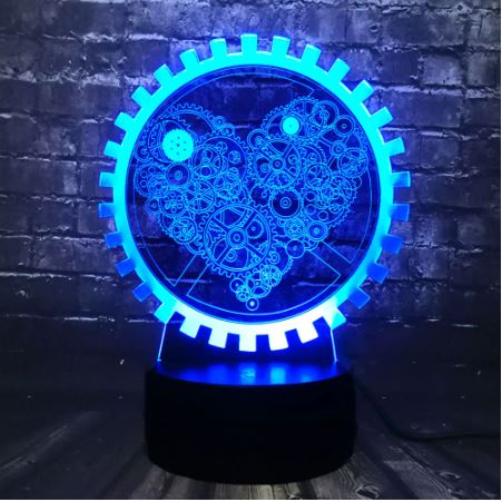 Steampunk Heart 3D LED Illusion Night Light Lamp