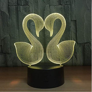 Swans With Heart 3D LED Illusion Night Light Lamp