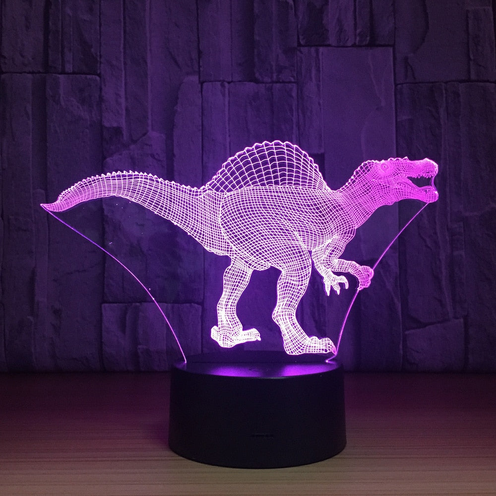 Spinosaurus Dinosaur 3D LED Illusion Night Light Lamp