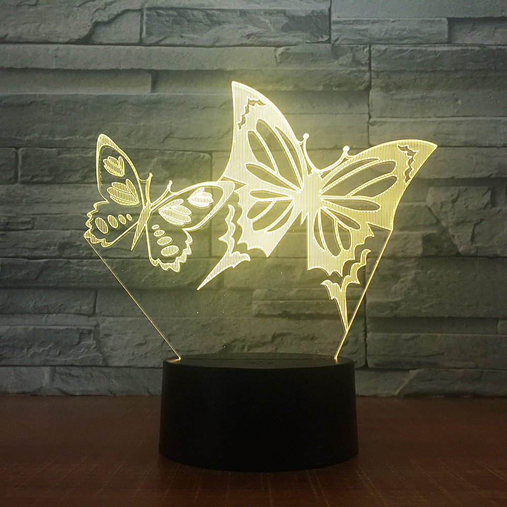 Butterfly Duo 3D LED Illusion Night Light Lamp