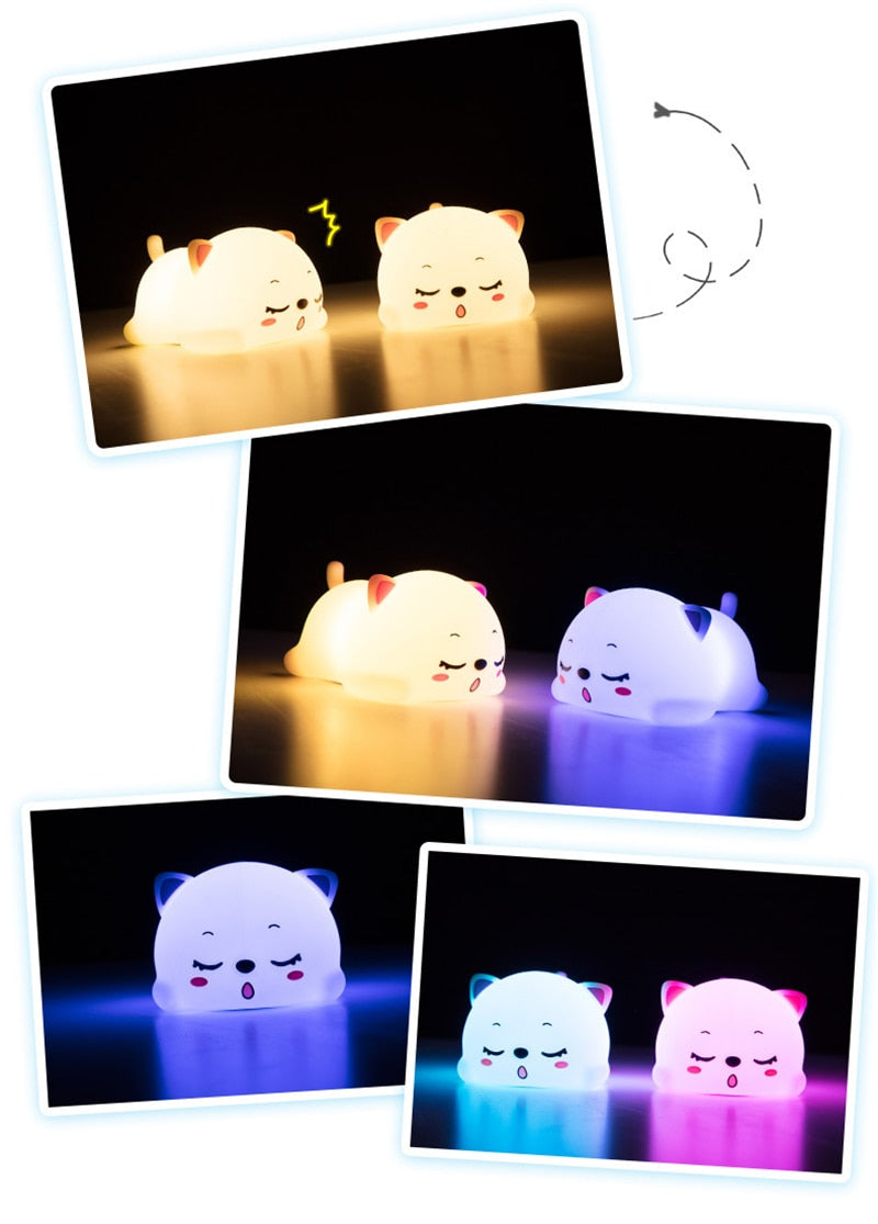 Sleeping Cat Silicone USB Rechargeable Night Light Lamp