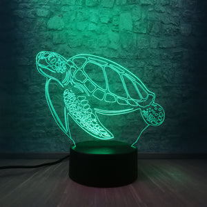 Sea Turtle 3D LED Illusion Night Light Lamp