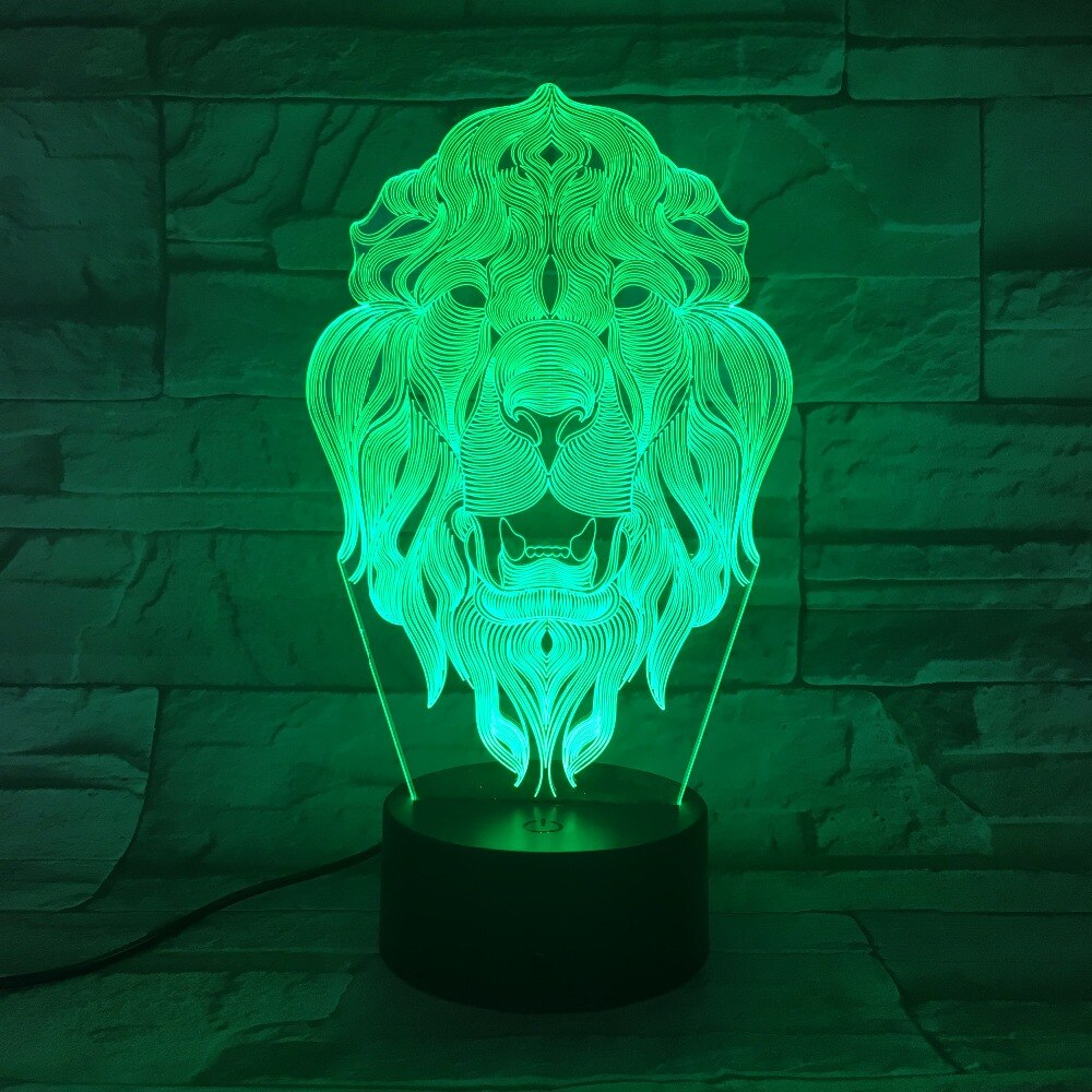 Lion Head 3D LED Illusion Night Light Lamp
