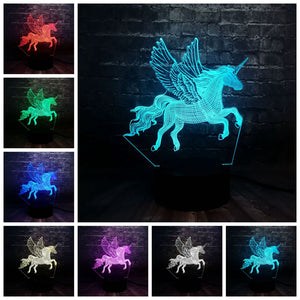 Winged Unicorn 3D LED Illusion Night Light Lamp