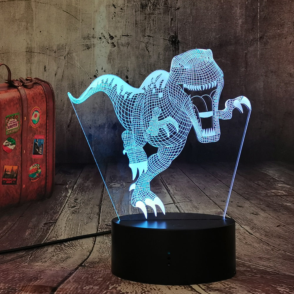 T-Rex Dinosaur 3D LED Illusion Night Light Lamp