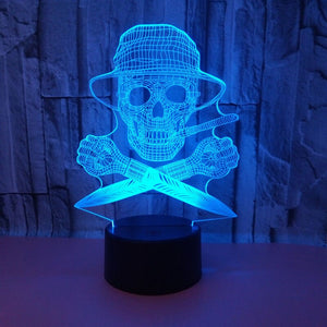Skull Pirate Knife 3D LED Illusion Night Light Lamp