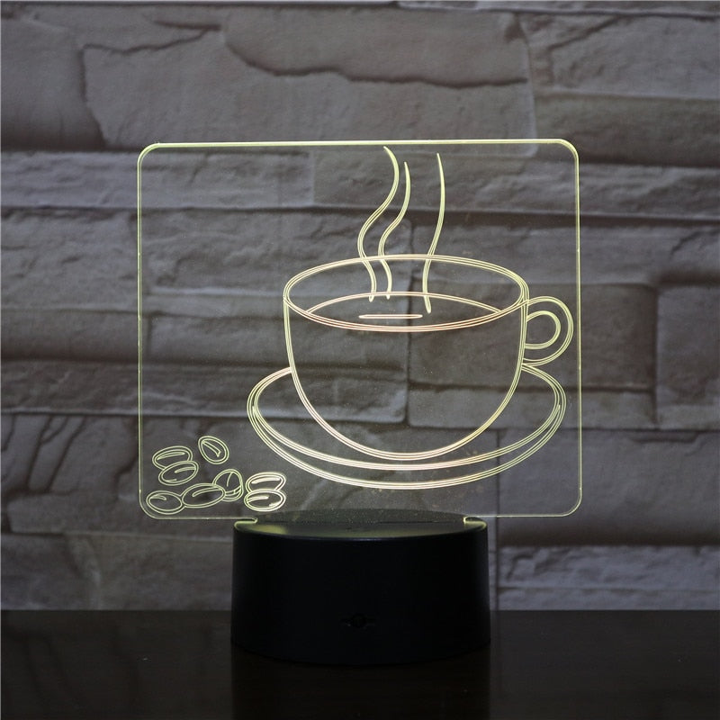Coffee Cup 3D LED Illusion Night Light Lamp