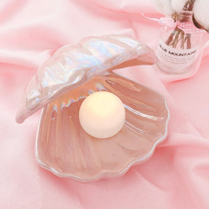 Kawaii Cute Pearl Oyster Clam Ceramic Night Light Lamp