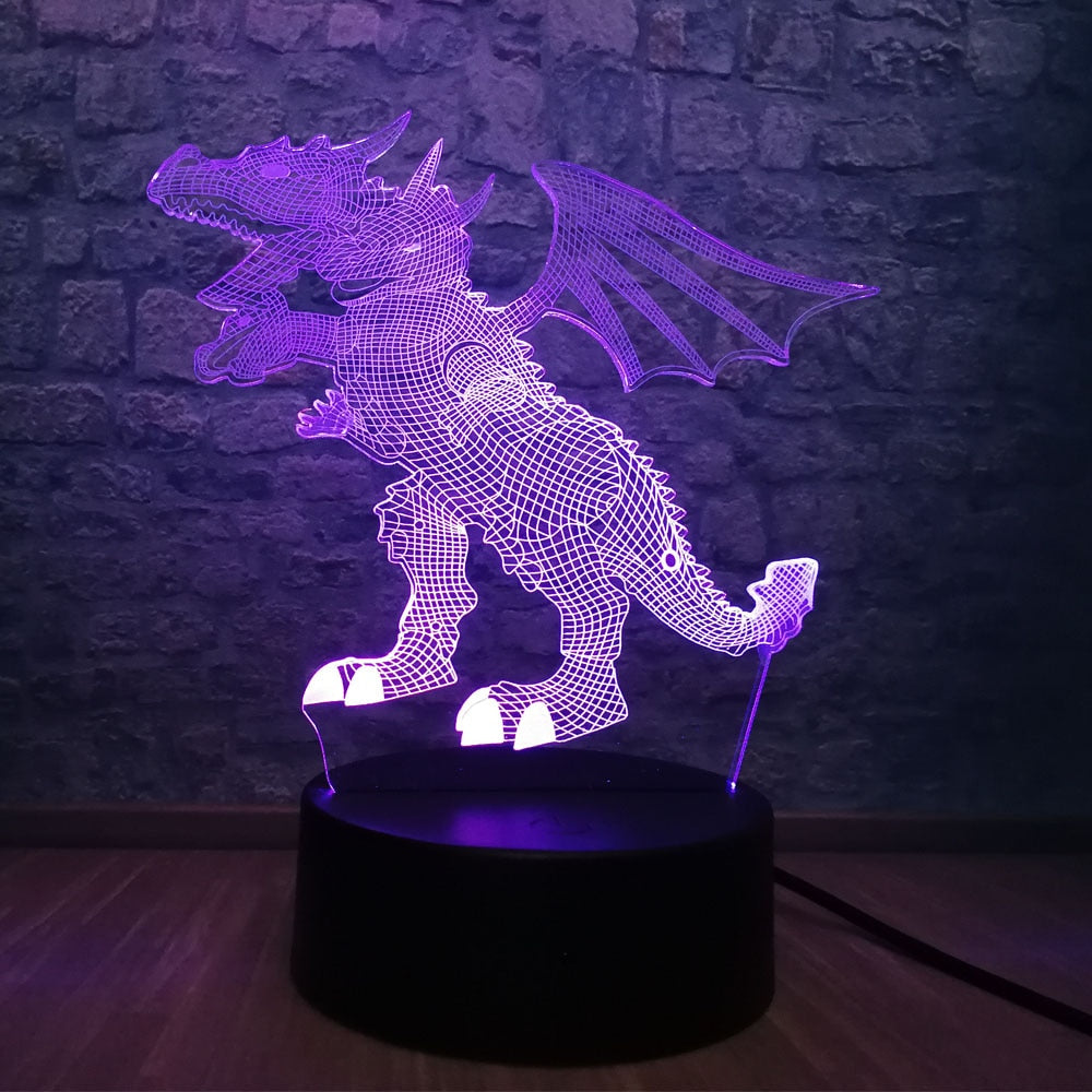Three-headed Dragon 3D LED Illusion Night Light Lamp