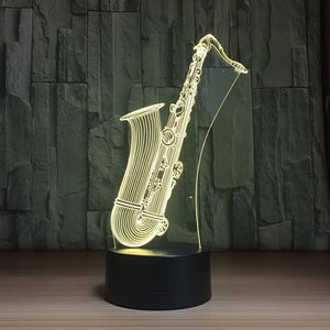 Saxophone Instrument 3D LED Illusion Night Light Lamp