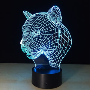 Leopard Head 3D LED Illusion Night Light Lamp
