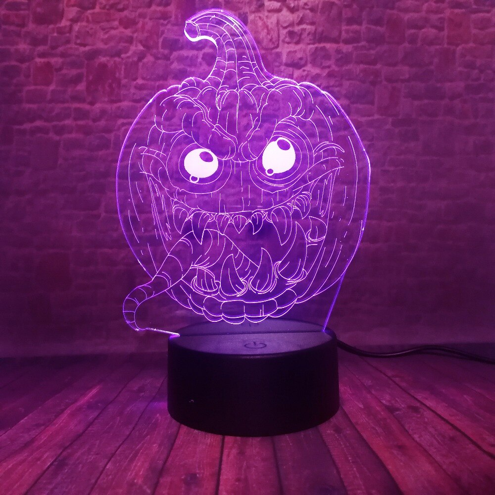 Scary Pumpkin 3D LED Illusion Night Light Lamp