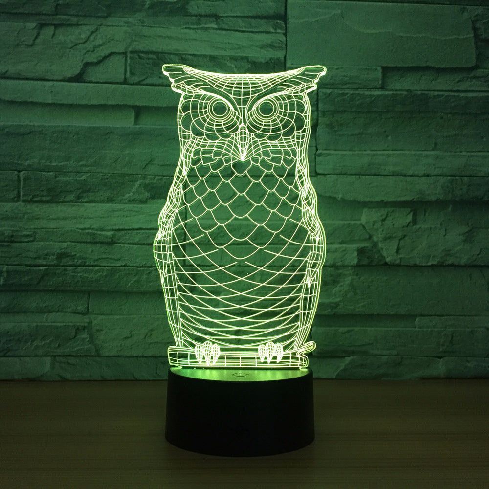 Owl 2 3D LED Illusion Night Light Lamp