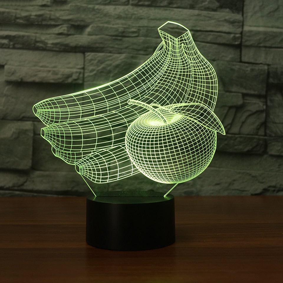 Banana & Apple 3D LED Illusion Night Light Lamp
