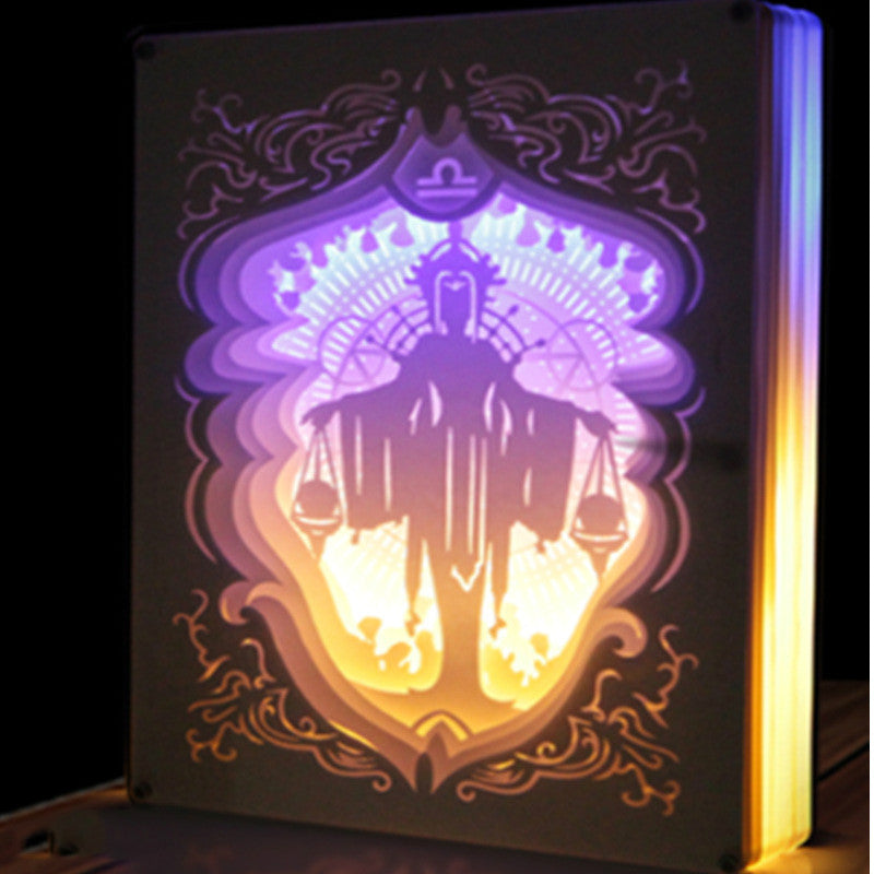 Libra Constellation Colorful 3D Paper Carving Night Light Lamp