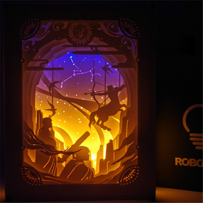 Sagittarius Constellation Colorful 3D Paper Carving Night Light Lamp
