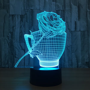 Rose Cup 3D LED Illusion Night Light Lamp