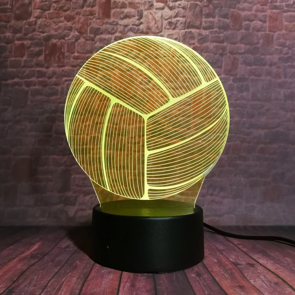 Volleyball 3D LED Illusion Night Light Lamp
