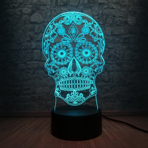 Flower Skull 3D LED Illusion Night Light Lamp