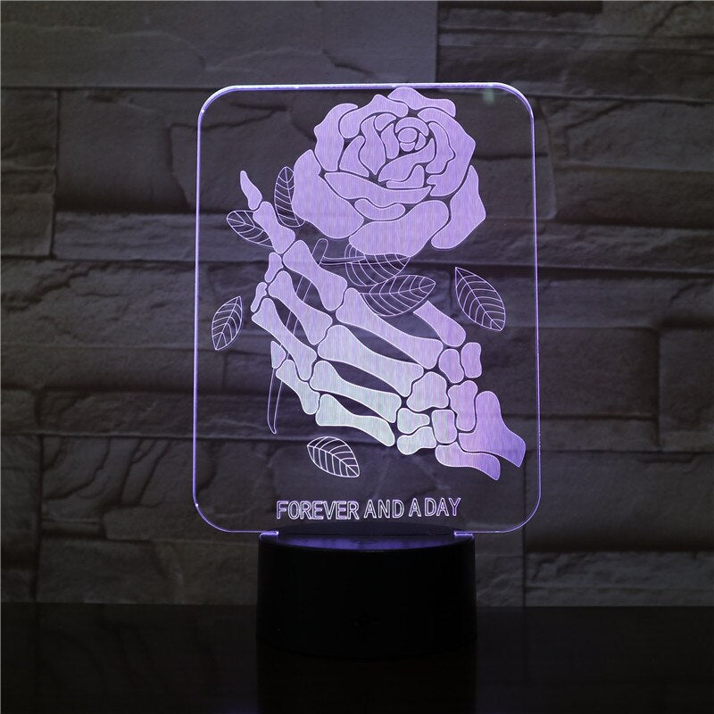Skull Hand With Rose 3D LED Illusion Night Light Lamp