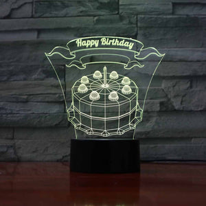 Birthday Cake 3D LED Illusion Night Light Lamp