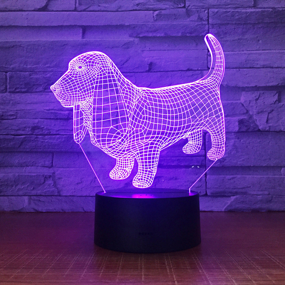 Basset Hound Dog 3D LED Illusion Night Light Lamp