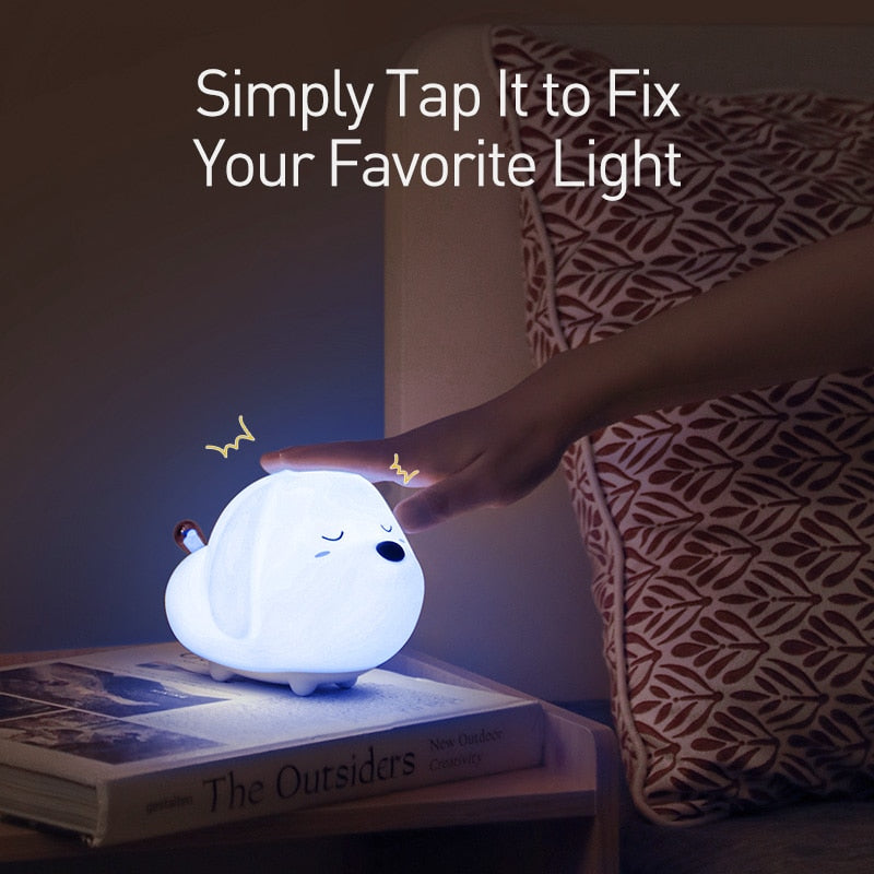 Cute Puppy & Cat Silicone USB Rechargeable Night Light Lamp