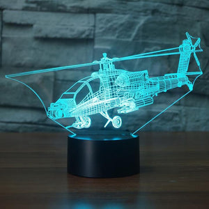 Helicopter 3D LED Illusion Night Light Lamp