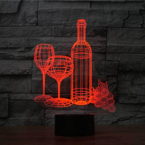 Wine Cup Bottle 3D LED Illusion Night Light Lamp